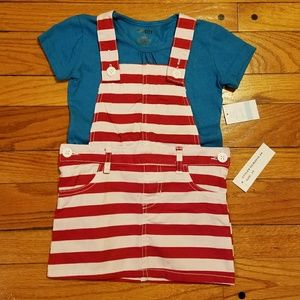 Other - red white and blue overalls shirt outfit.